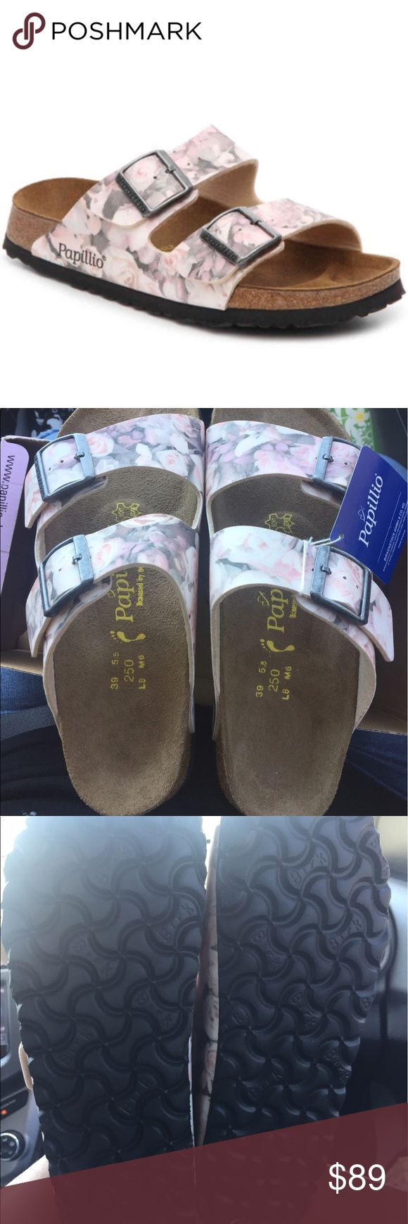 NEW BIRKENSTOCK ARIZONA PAPILLIO EURO39/ WMNS 8 New never used. ARIZONA STYLE 364133. Size US 8-8.5 NARROW FIT. BIRKO FLOR STRAPS. BOX IS MISSING LID. Birkenstock Shoes Sandals