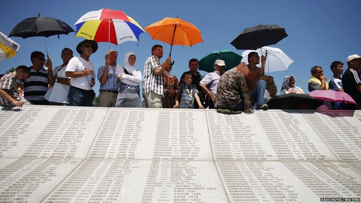 More than 500 newly identified victims of the Srebrenica massacre were reburied on the 17th anniversary of the tragedy in the Bosnian town. Thousands of people - most of them relatives of the victims - attended the sombre ceremony at the Potocari memorial centre. The massacre has been recognised as genocide by the UN war crimes tribunal.
