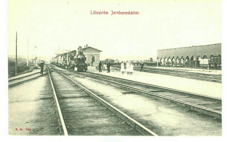 Akershus fylke Skedsmo kommune Lillestrøm jernbanestation Utg NK/Verdenspostforeningen tidlig 1900-tall