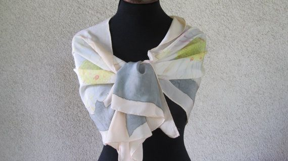 scarf or shawl in silk crepe pure handpainted by ventodiscirocco, $73.00