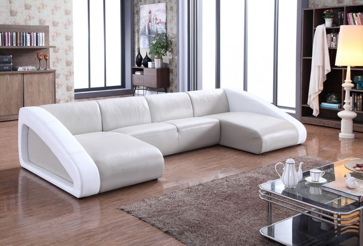 Divani Casa Pratt Modern Grey & White Leather Sectional Sofa - VG2T0916-GRY