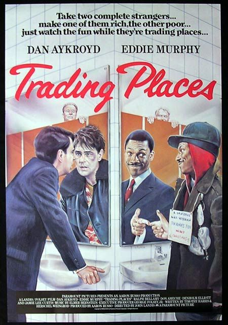 TRADING PLACES (1983): A snobbish investor and a wily street con artist find their positions reversed as part of a bet by two callous millionaires. #movies #films1983 #80s