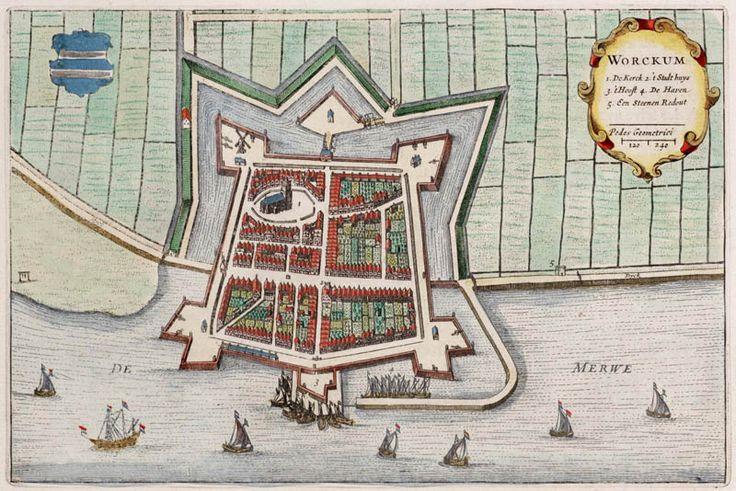Plattegrond van Woudrichem (Workum) in 1649 door Blaeu uitgegeven