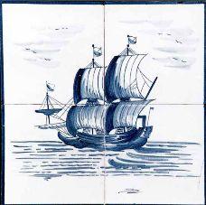 #azulejos #bateau (réf : cerb_129_3_6)  #mer #carrelage #tile #boat #sea #decoration #bleu #blue