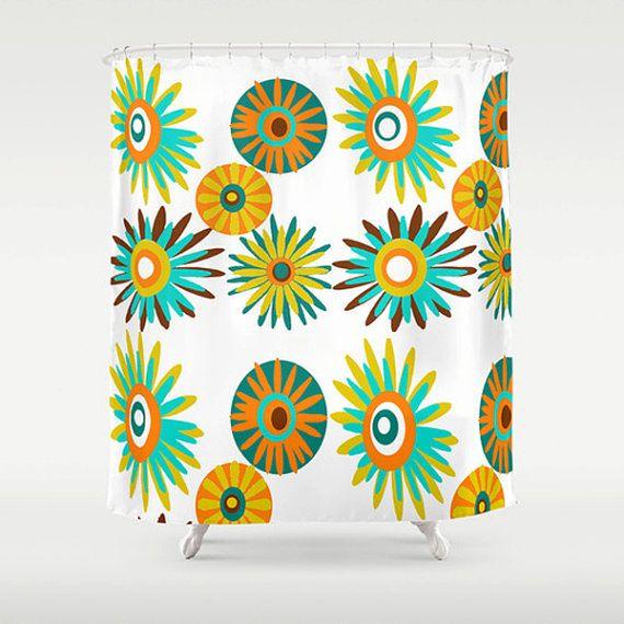 Mid Century Shower Curtain Part - 45: Shower Curtain Retro Shower Curtain Floral By Crashpaddesigns