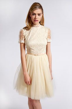 Amelia Corded Lace Open Back Dress With Tutu Skirt