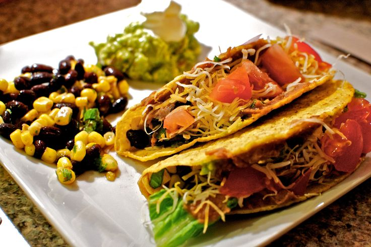 #Tacos #Veg Hard Shell: Crunchy Corn #Tortilla shells filled with #beans and #cheese served with salsa and sour cream.