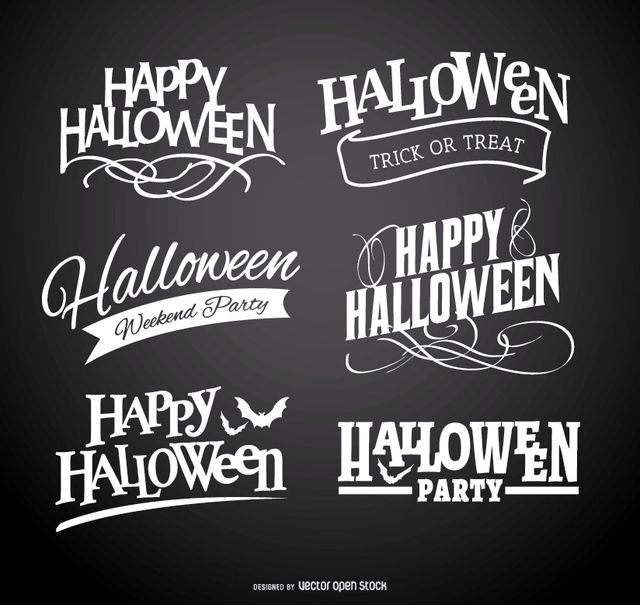 Happy Halloween logo emblems set over black background. Cool typography work.High quality JPG included. Under Commons 4.0. Attribution License.