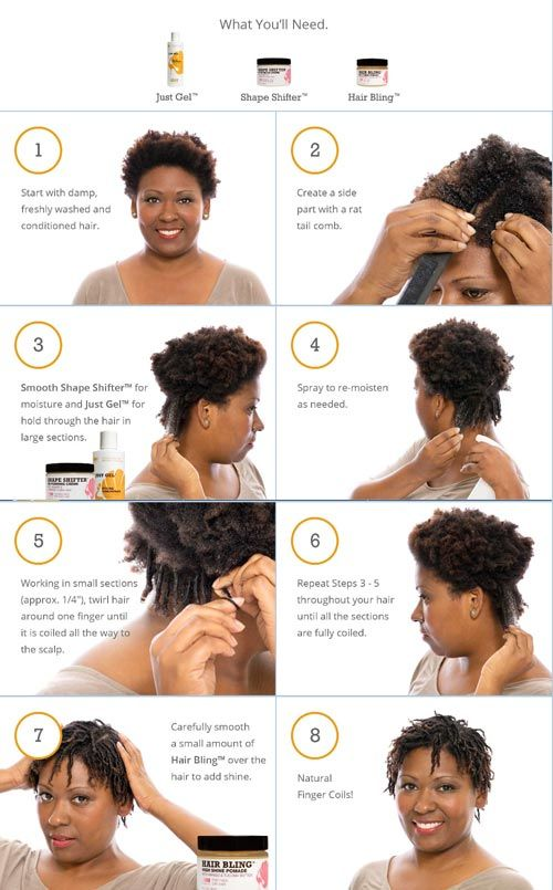 Finger Coils How To with Original Moxie Shape Shifter, Just Gel, and Hair Bling!