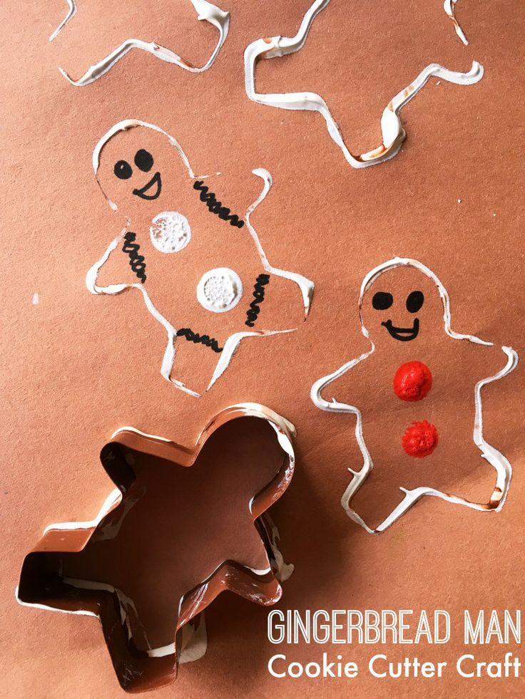 Gingerbread cookie cutter craft. Simple Christmas craft for toddlers or preschoolers!