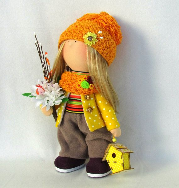 100% HANDMADE /// READY TO SHIP  Annette Doll-Handmade Doll-Fabric Doll-Rag Doll-Textile Doll-Handmade Doll-Home Decoration Doll-Interior