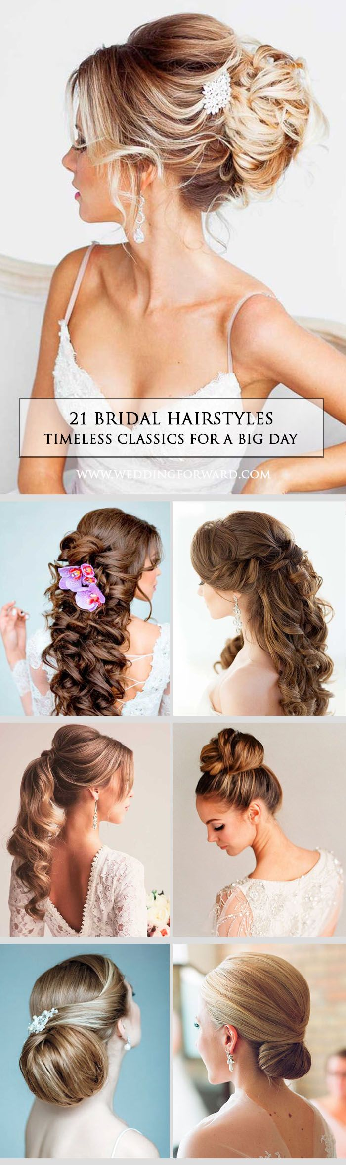 21 Timeless Bridal Hairstyles ❤ If you're still looking for a great hairstyle for your wedding, take a moment to consider these wonderfully simple and elegant styles that might just catch your fancy. See more: http://www.weddingforward.com/timeless-bridal-hairstyles/ #weddings #hairstyles