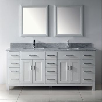 Studio Bathe Kelly 75 Double Sink Bathroom Vanity With Carrera Marble  Countertop And 2 Mirrors   White