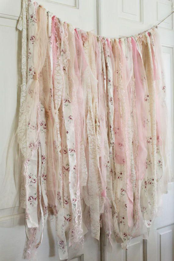 Shabby Chic Baby Shower Decorations, Shabby Chic Backdrop, Rustic Backdrop, Boho Curtains, Photobooth Backdrop, Ribbon Backdrop – Pam Stewart