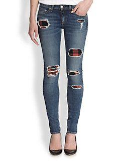 "rag & bone/JEAN - The Skinny Plaid-Insert Distressed Jeans - ""reventada style"""