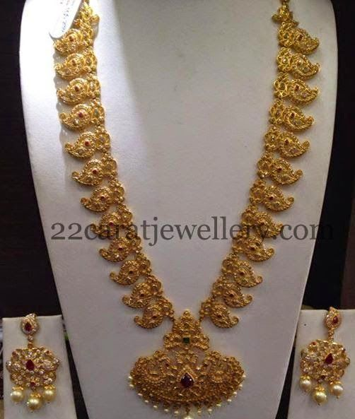 Cz Manga Haram With Earrings Jewel Indian Jewelry And Gold