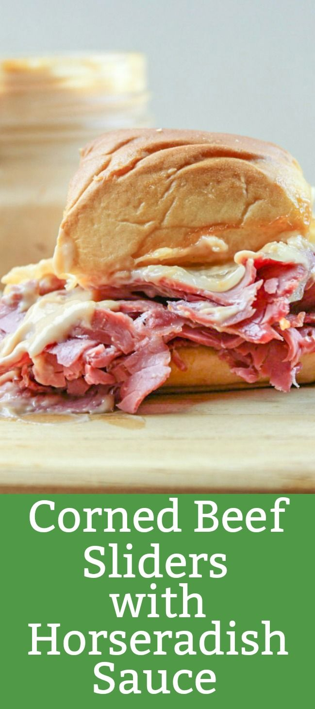 These sliders made with corn beef and Swiss cheese are good on their own but when you top them off with the Horseradish Sauce they become G-R-E-A-T.  #sliders #footballfood #stpatricksday #easyrecipe
