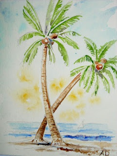 How to draw a palm tree art lesson, an easy drawing lesson and works sheet this is the watercolor illustration.