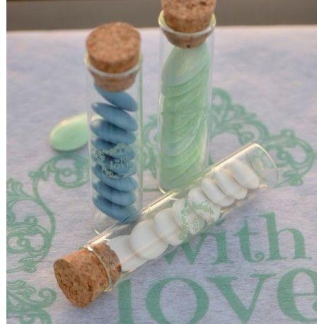 Eprouvette à dragées vintage with love menthe en verre 10 cm les 4