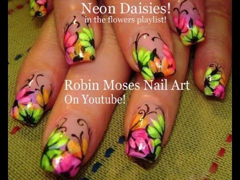 Nail Art tutorial   Rainbow Neon Daisy nails!   Daisies nail design! - YouTube