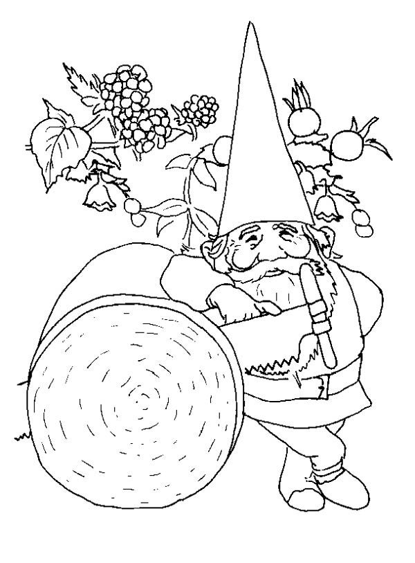 gnome lumberjack gnome coloring page