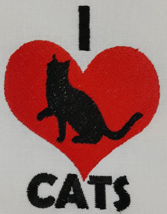 Digital Embroidery Design  I love cats by EmbroideryDesignsBRN