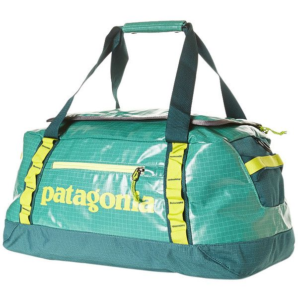 Patagonia Black Hole 45l Duffle Bag ($89) ❤ liked on Polyvore featuring bags, aqua stone, mesh zipper bag, patagonia, patagonia bag, black duffle bag and black duffel bag