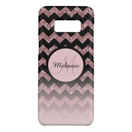 Rose Gold Pink Glitter Chevron Monogram Case-Mate Samsung Galaxy S8 Case - girly gifts girls gift ideas unique special