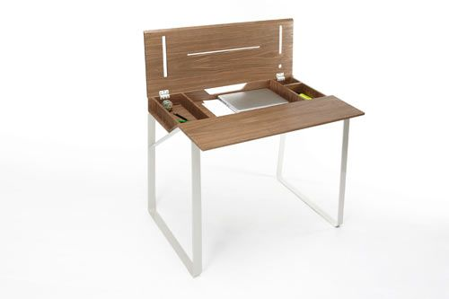 Julie Arrivé's new Home Desk for Singularité-Editions was inspired by a traditional school desk, but updated for working adults. You might remember as a child storing all your books and pencils under the desk lid, always having a nice, clean surface to work on. This desk incorporates the same idea, except the flip-top area is located in the top half of the desk's surface, making it easier to access while your desktop is covered with papers and such.