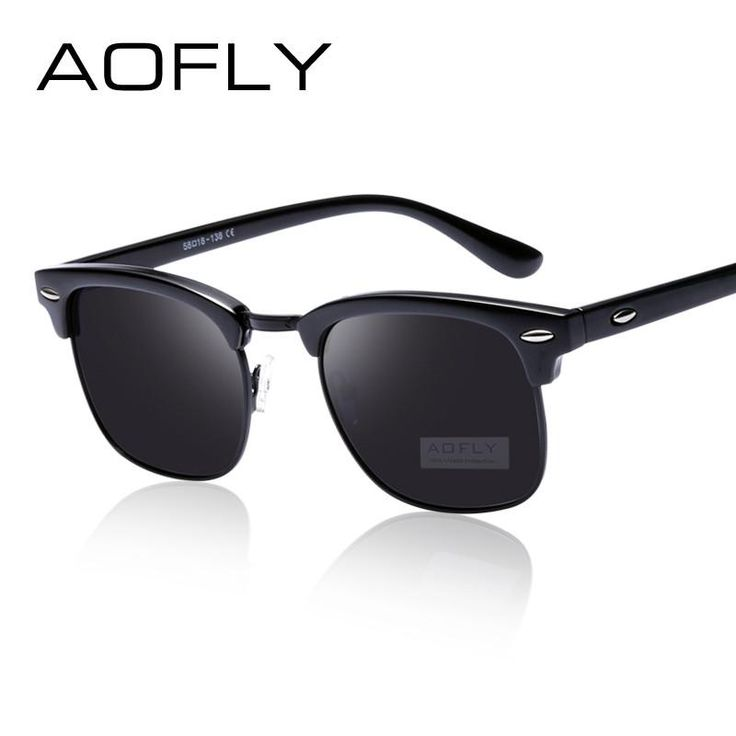 AOFLY Classic Half Metal Polarized Sunglasses Men Women Brand Designer Glasses Mirror Sun Glasses Fashion Gafas Oculos De Sol