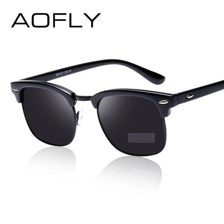 AOFLY Classic Half Metal Polarized Sunglasses Men Women Brand Designer Glasses Mirror Sun Glasses Fashion Gafas Oculos De Sol