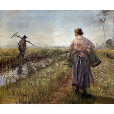 Morning in the Fields by Fritz Karl Hermann von Uhde (1848-1911) Canvas Art - Fritz Karl Hermann von Uhde (18 x 24)