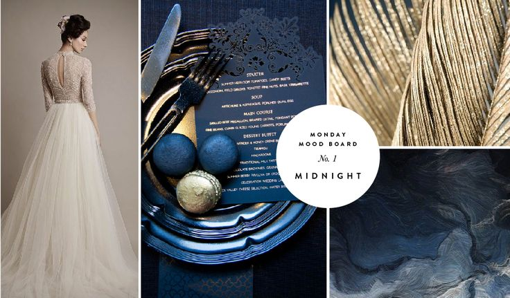 Monday Moodboard 1 - Midnight | A navy laser cut menu with gold foiled text is inspiration for this mood board! | www.secretdiary.co.za |