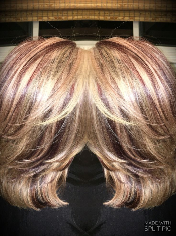 Burgundy Red And Blonde Foils Hair Colors In 2019