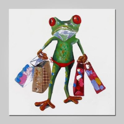 Just US$45.33 + , buy NO1 Stretched Oil Painting Cute Frog with Shopping Bags online shopping at GearBest.com.