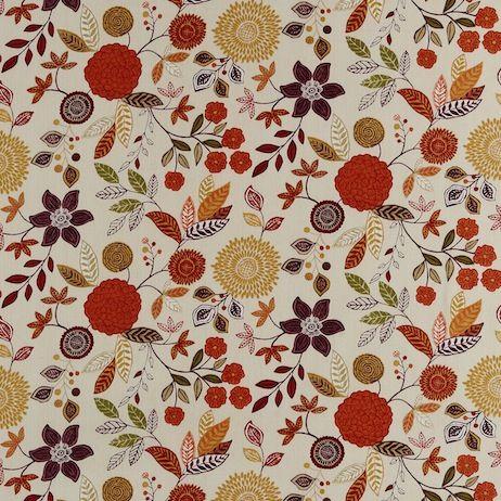 Harlequin Anoushka - Alina Fabric - Tangerine, Aubergine, Khaki and Neutrals - Bryella