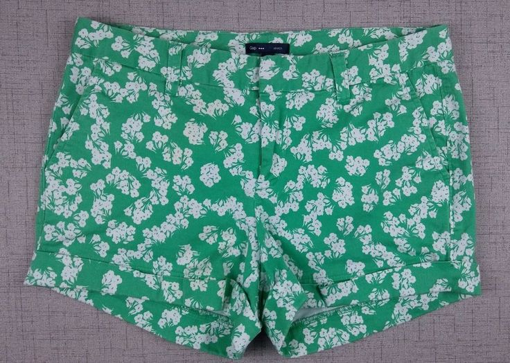 Gap Womens Shorts Size 6 Green with White Floral Pattern - Casual Spring Summer #Gap #CasualShorts $11.04 #gap #womens #shorts #spring #summer #floral