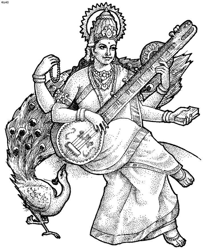 Hindu Goddess Coloring Page