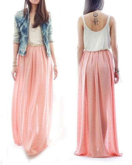 I dont know why, but Im loving the idea of long flowy oversized skirts right…
