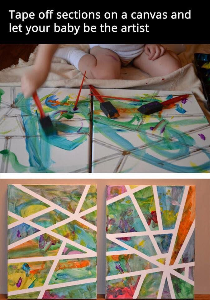 Tape off parts of the canvas and let him do the painting