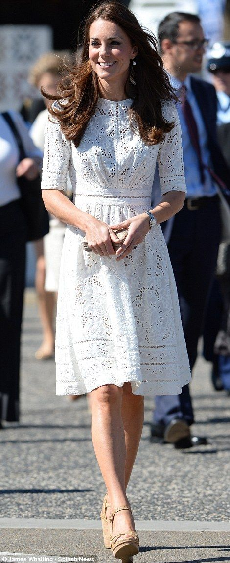 Kate at Royal Easter Show 4/19/14 wearing Zimmermann 'Day Roamer' dress and Stuart Wetizman for Russell and Bromley SW Coco wedges.