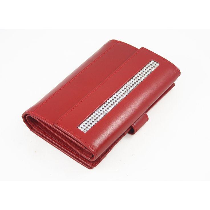 Damski rozbudowany portfel Rovicky z kryształkami , skórzany, czerwony