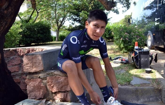 Nairo Quintana this morning before heading out to train on the roads of Corsica. # VamosAzules  # TDF