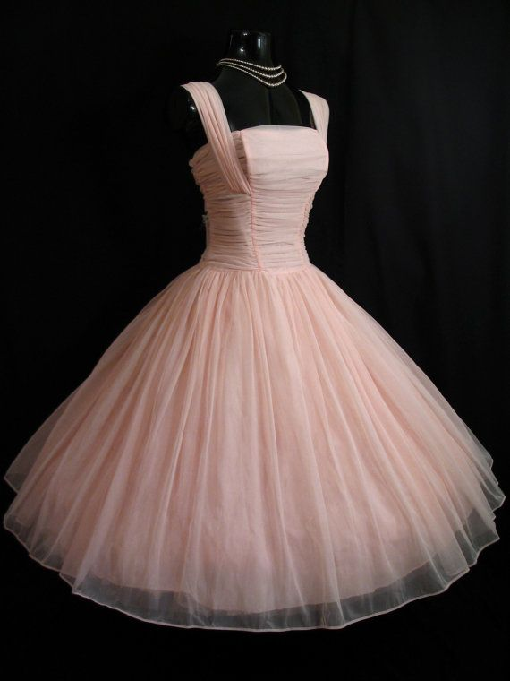 Reserved for Madeline Lies Vintage 1950's 50s Bombshell PINK  Ruched Chiffon Organza Party Prom Wedding DRESS