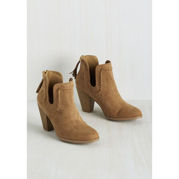 Boho Save the Best for Lasso Bootie ($20) ❤ liked on Polyvore featuring shoes, boots, ankle booties, short cowgirl boots, zip ankle boots, vegan booties, ankle cowgirl boots and cowgirl booties