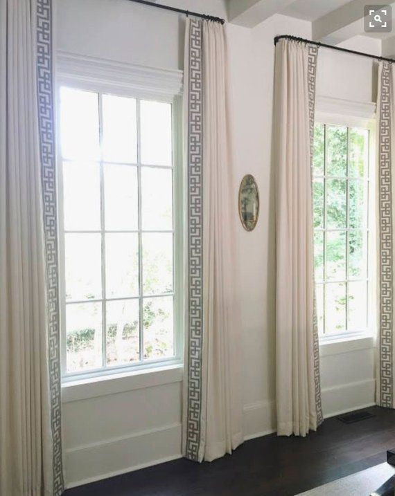 Custom Made Drapery In High End Fabric By One Of The Top Seamstresses In Charleston Sc 3 Greek Key Luxury Trim On B Custom Drapes Curtain Trim Drapery Panels