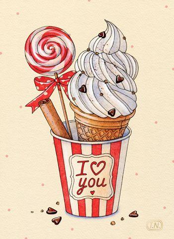 ice cream and lollipop, valentine