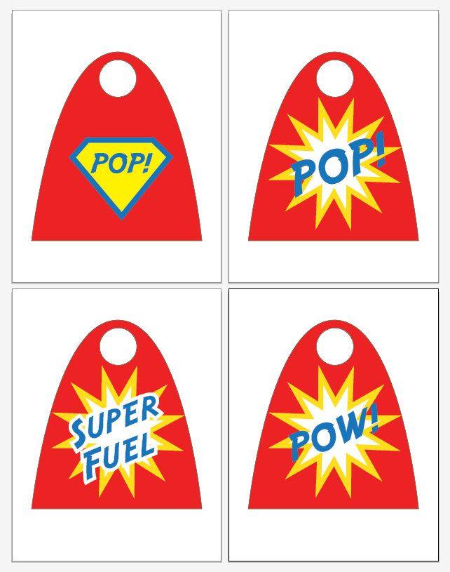 Superhero Superheroes Super Heros Party Soda POP Capes - PRINTABLE Party Favors - Birthday, 4 Designs, DIY Digital File. $6.00, via Etsy.