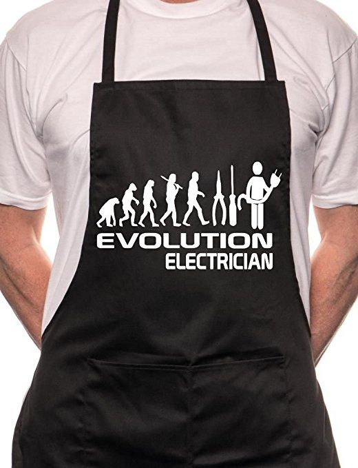 Evolution Of Electrician Sparky BBQ Cooking Funny Novelty Apron Black