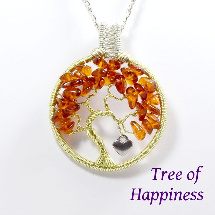 Amber Tree Of Happiness Pendant • Gemstone Tree Necklaces • UK Handmade Gemstone Gifts • The Perfect Romantic Special Gift For Her | The Lapis Tree